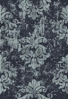ダマスク織のビンテージパターン。グランジ。暗い色と明るい色