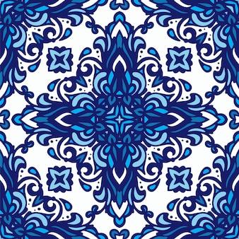 파란색과 흰색 동양 타일, 장식품에서 다 마스크 빈티지 완벽 한 패턴입니다. 벽지, 배경, 디자인 장식, 세라믹, 페이지 채우기 등에 사용할 수 있습니다.