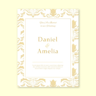 Damask wedding invitation elegant style