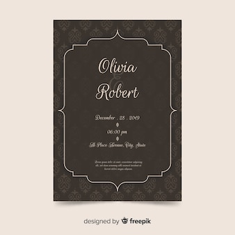Damask wedding invitation template in elegant style