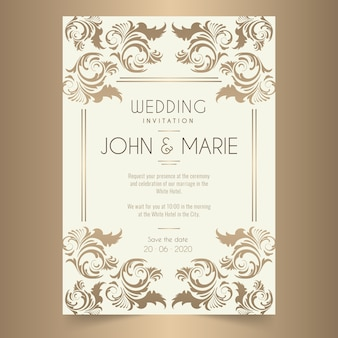 Damask wedding invitation template