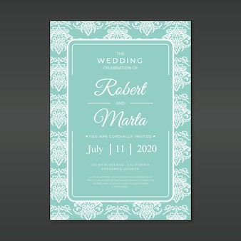 Damask wedding invitation template