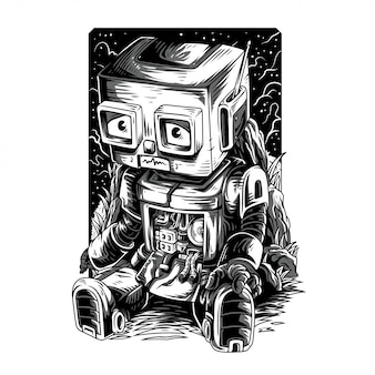 Damn robot remastered black and white illustration