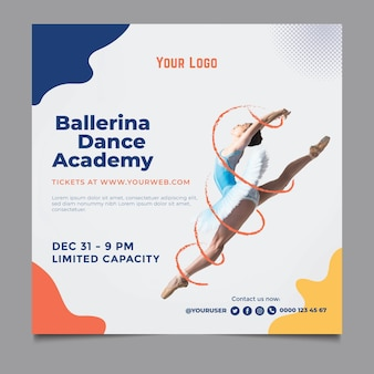 Dance academy square flyer template