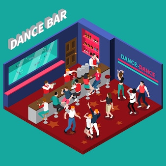 Dance bar isometric composition