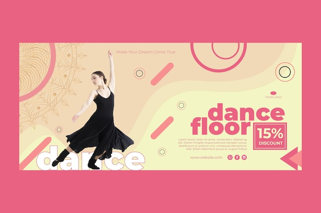 Dance class banner template with photo