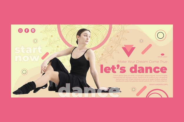 Dance class horizontal banner template with photo