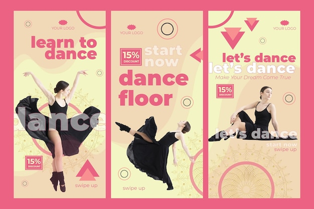 Dance class instagram stories template with photo