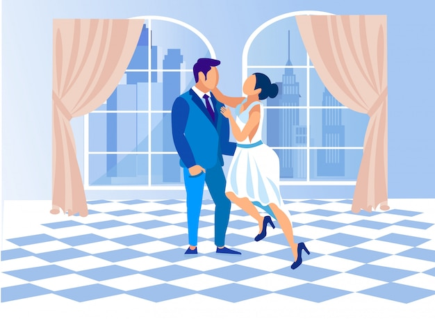 Dance class for man and woman flat