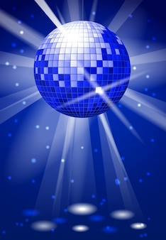 Dance club party vector background with disco ball