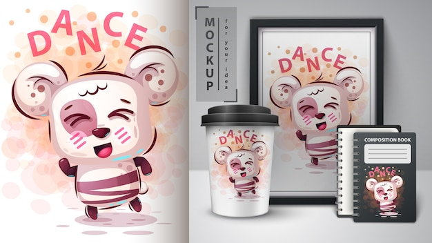 Dance cute bear illustration and merchandising