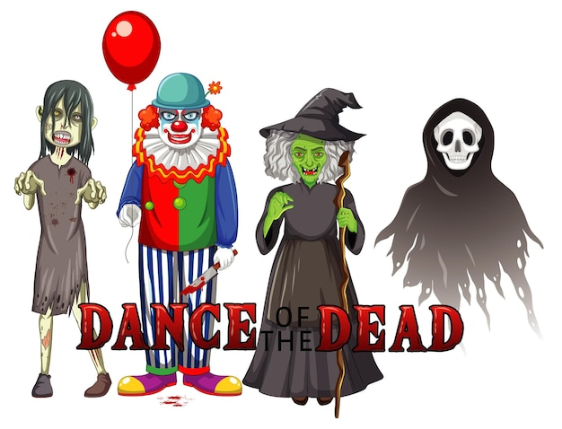 Dance of the dead text design with halloween ghost characters