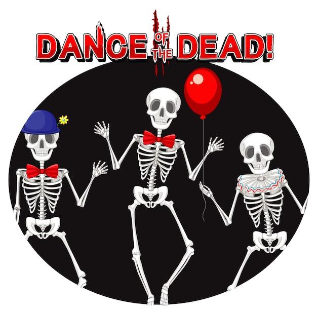 Danza dei morti con fantasmi scheletro