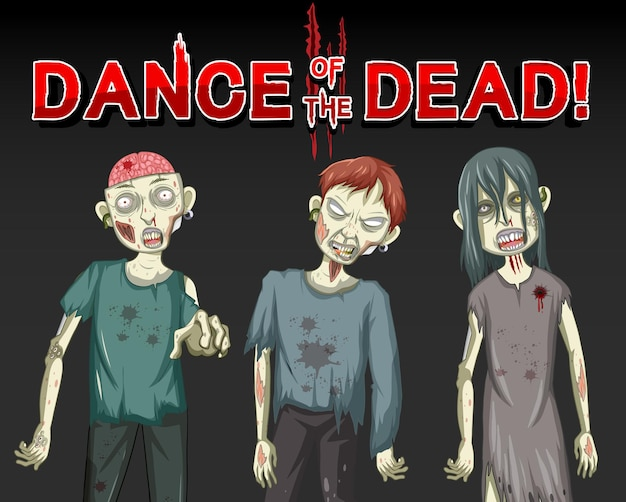 Dance of the dead with three creepy zombies