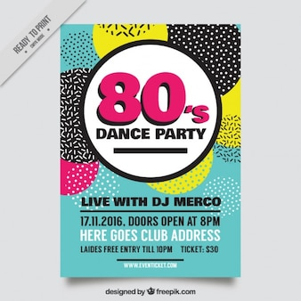 Dance eighties party flyer with colored circles
