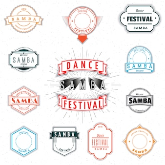 Dance festival samba badges insignia  and labels for any use