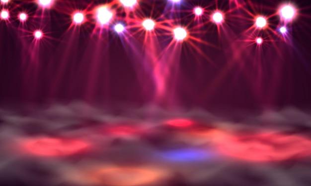 ダンスフロアバナー、ステージ上の光と煙。ベクトルイラスト