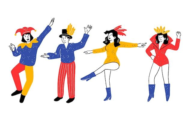 Pista da ballo con la collezione di carnevale di ballerini