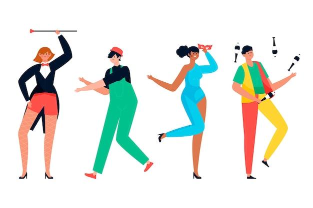 Pista da ballo con ballerini e trucchi collezione di carnevale
