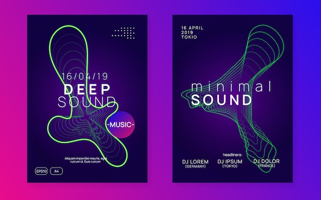 Dance flyer. dynamic fluid shape and line. modern concert banner set. neon dance flyer. electro trance music. techno dj party. electronic sound event. club fest poster.