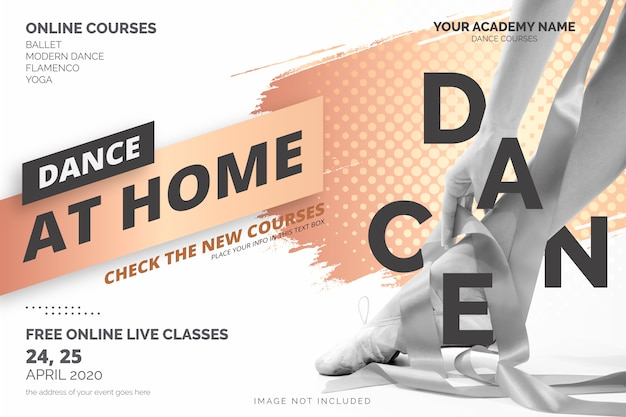 Dance at home couse banner template
