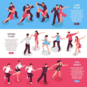 Dance horizontal isometric banners