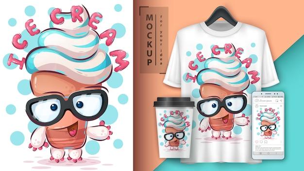 Dance ice cream poster and merchandising