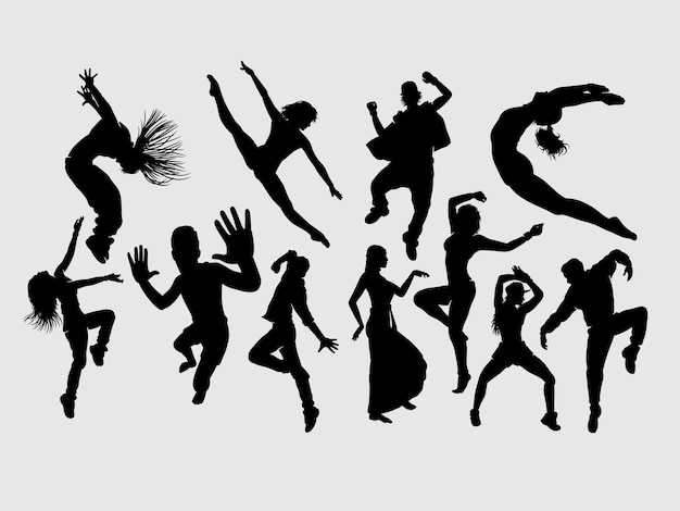 Dance male and female gesture silhouette