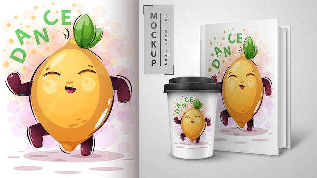 Dance, music lemon - mocup for your idea