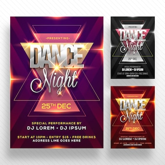 Dance night flyer with lens flare effect.