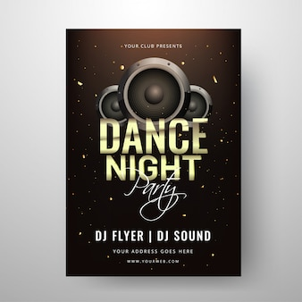 Dance night party template or clud invitation card design with s
