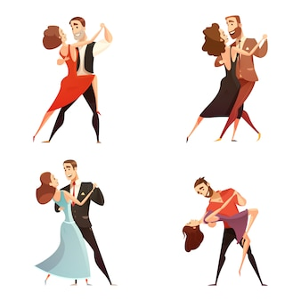 Dance pair retro cartoon set of men and women dancing together