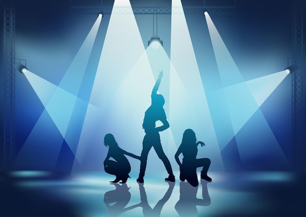 Dance party background with dancing girls in the spotlights