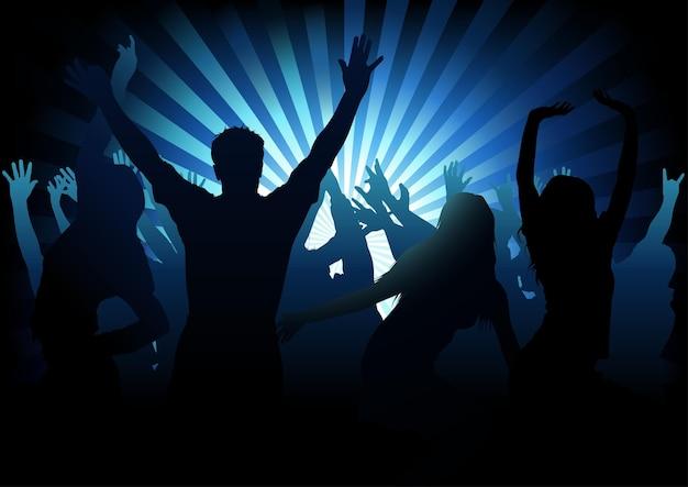 푸른 빛 광선에 실루엣 군중 춤과 댄스 파티 배경