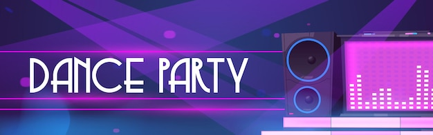 Dance party banner of night club event with dj music and discotheque