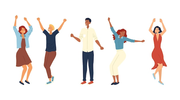 댄스 파티 개념. 패션 사람들의 그룹이 함께 춤을 추고 있습니다. 다른 댄스 포즈에서 만족 된 캐릭터. 젊은 남성과 여성 댄스 파티를 즐기고 웃고. 만화 평면 벡터 일러스트 레이 션.