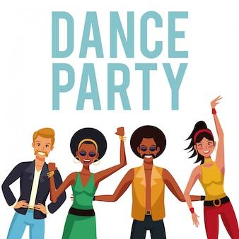 Dance party disco people cartoons