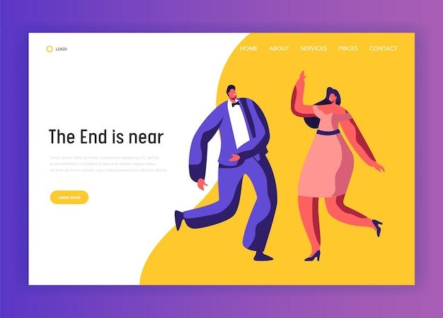Танцевальная вечеринка happy adult dress-up people landing page. веселая пара характер празднует праздничное событие. диско-клуб развлечения сайт или веб-страница, посвященная хорошему настроению. плоский мультфильм векторные иллюстрации