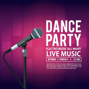 Dance party invitation card with date