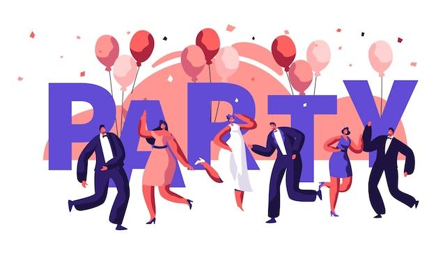 Dance party motivation typography banner. event celebration disco man woman on balloon backdrop flyer. modern entertainment horizontal poster design concept flat cartoon vector illustration
