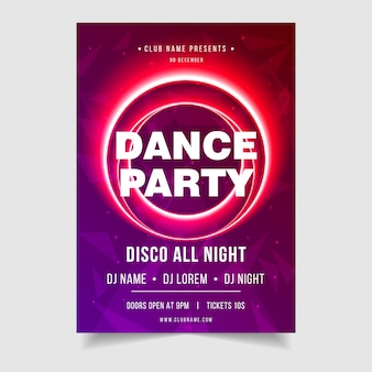 Dance party night music event poster template
