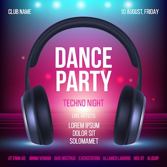 Dance party poster. placard invitation music club headset realistic illustration with place for text
