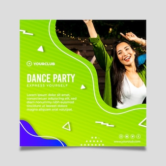 Dance party square flyer template