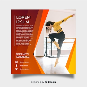 Dance poster template with photo