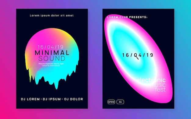 Dance poster. trendy glitch for presentation. minimal background for brochure shape. club and discotheque design. bright neon event. black and pink dance poster