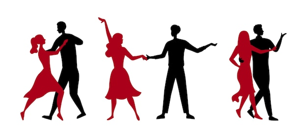 Dance school or competitions concept. silhouettes of people enjoying of spending time together. men and women have a good time dancing tango in pairs together.