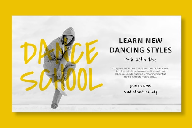 Dance school horizontal banner template with male dancer