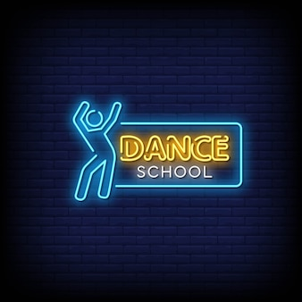Dance school neon signs style text