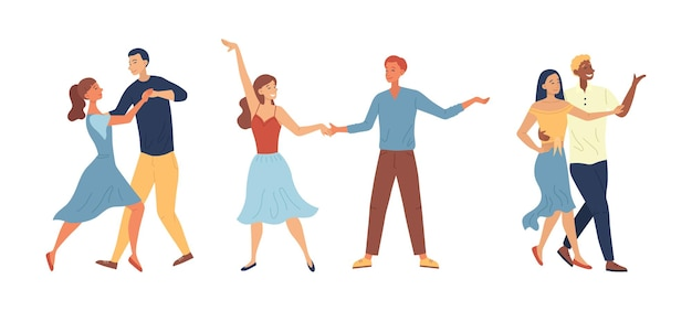 댄스 스쿨 또는 대회 개념. 함께 시간을 보내는 사람들. 남녀 캐릭터가 함께 탱고 춤을 추며 즐거운 시간을 보냅니다. 만화 플랫 스타일. 벡터 일러스트 레이 션.