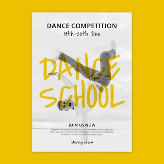 Dance school vertical poster template with male dancer